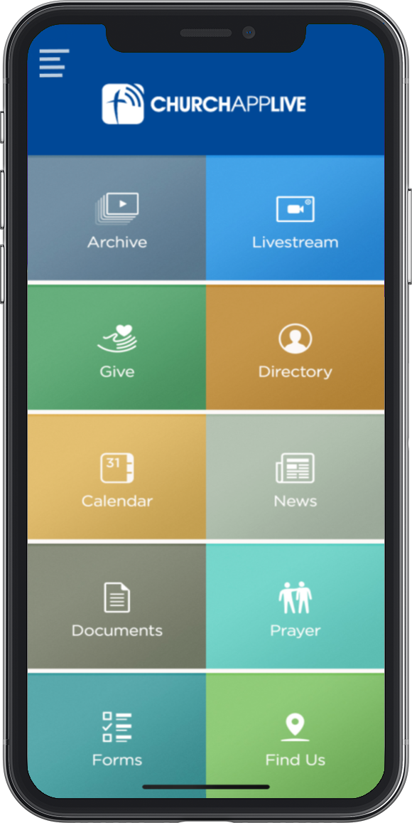Image of church app main menu
