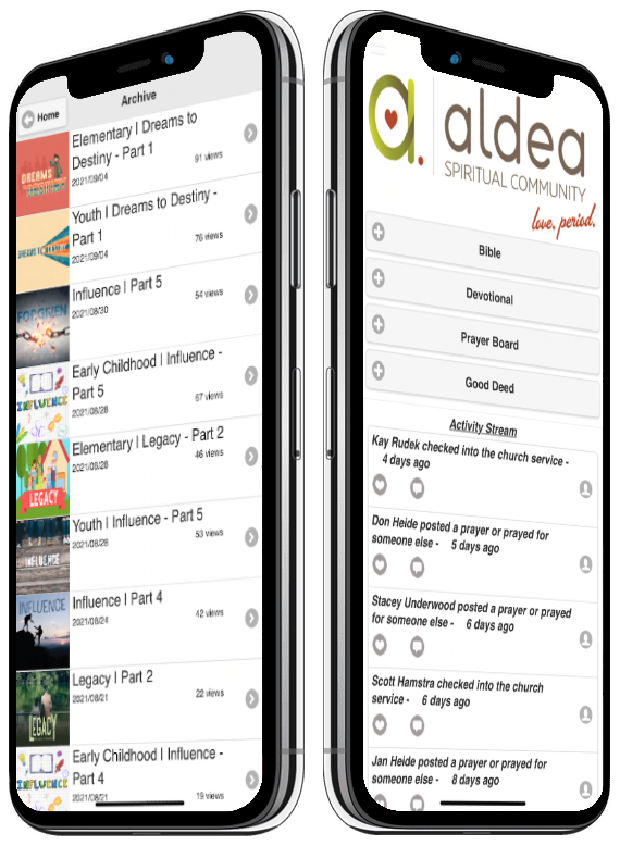 Image of church app features