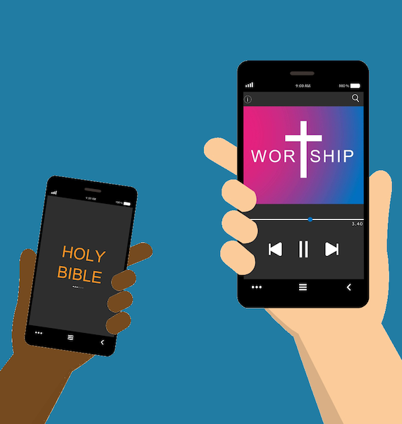 Image showing bible and worship music on church app
