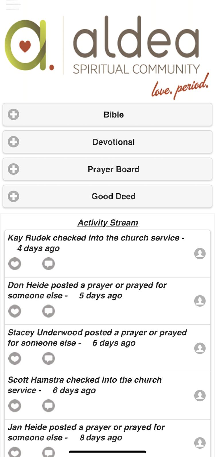 Screenshot of church app recent activity prayer board