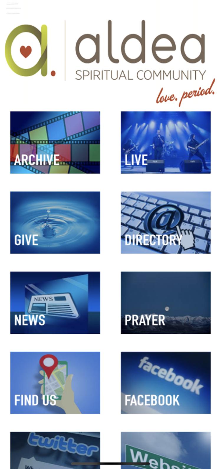 Screenshot of church app main menu selection