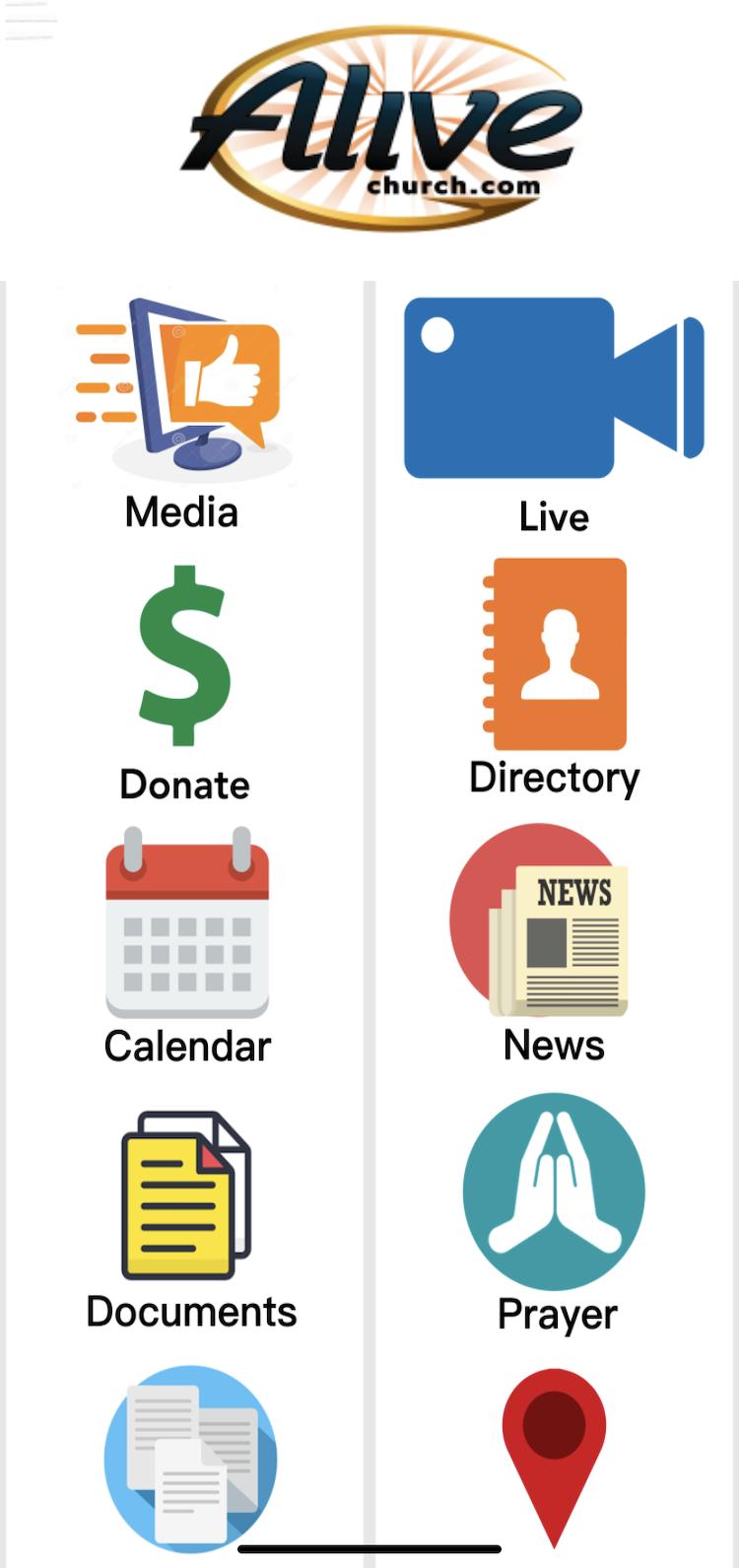 Screenshot of church app main menu