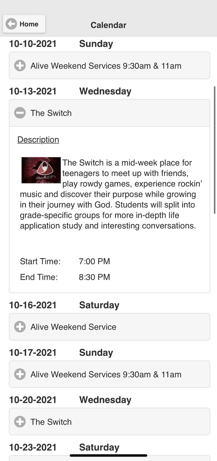 Screenshot of church app event calendar