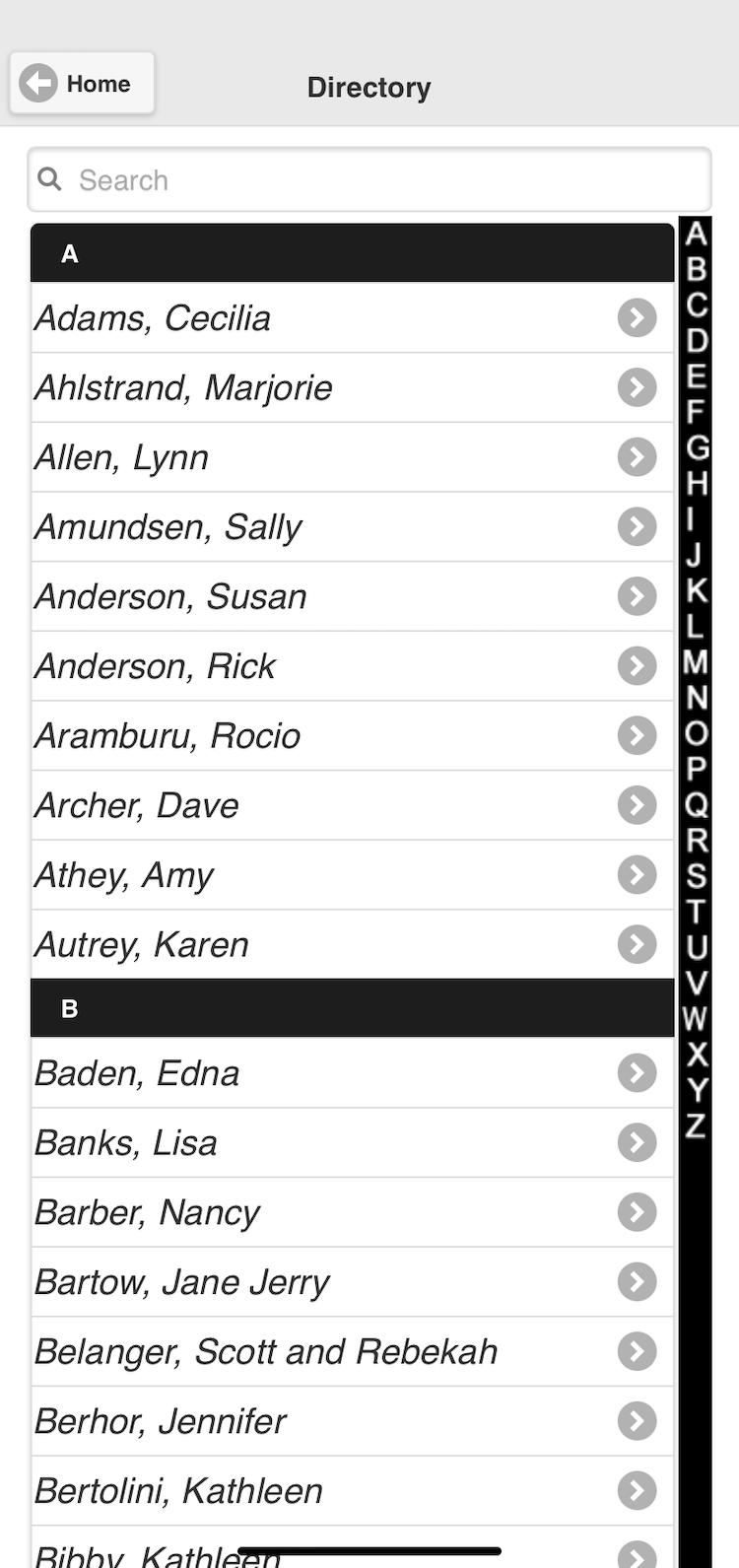 Screenshot of church app members directory