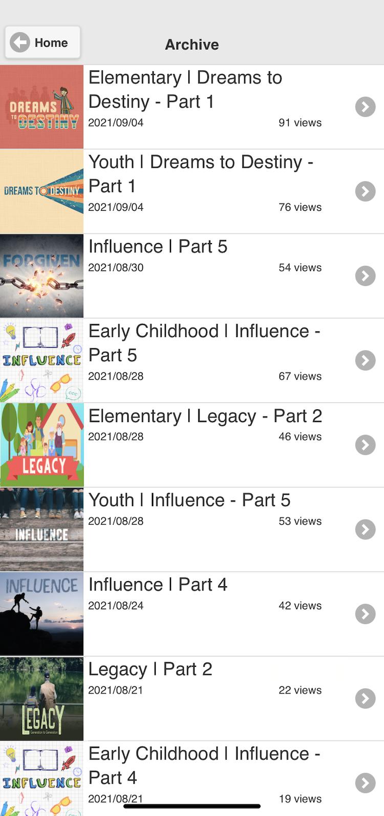 Screenshot of church app sermon media archive