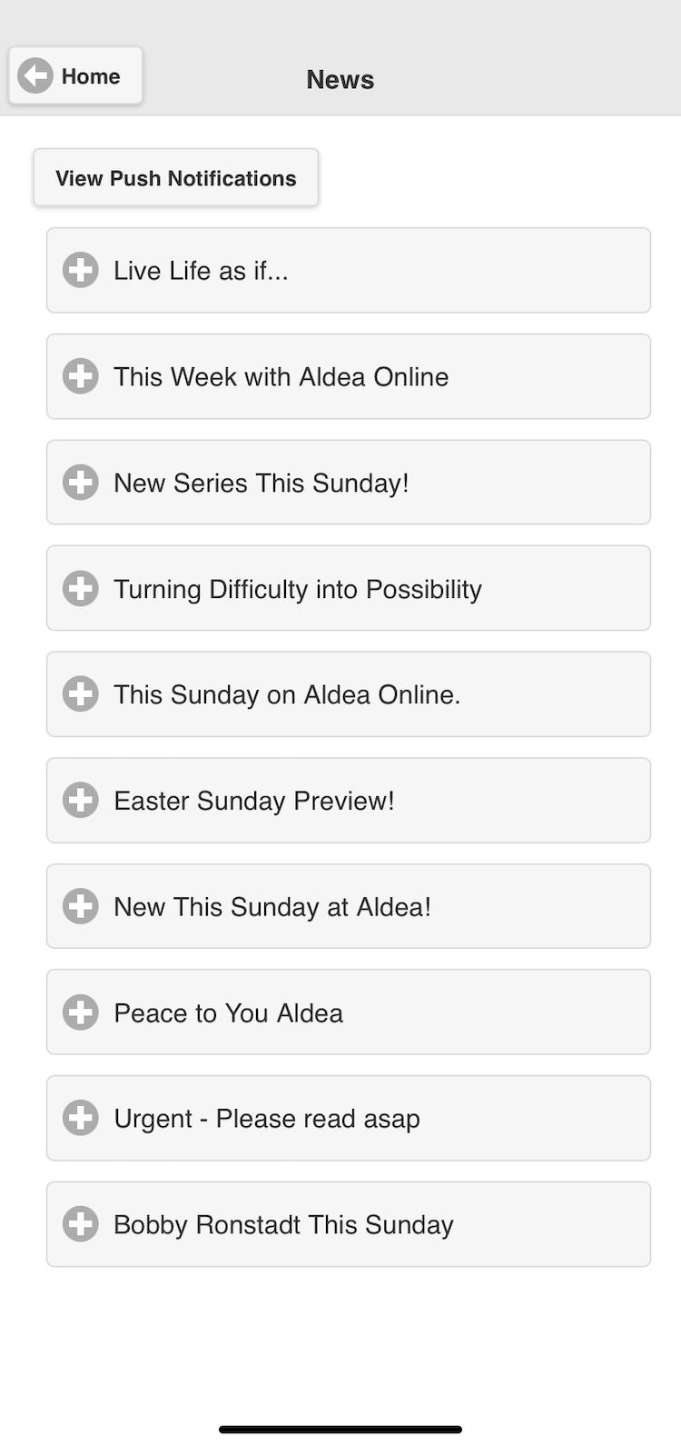 Screenshot of church app newsletter and push notifications